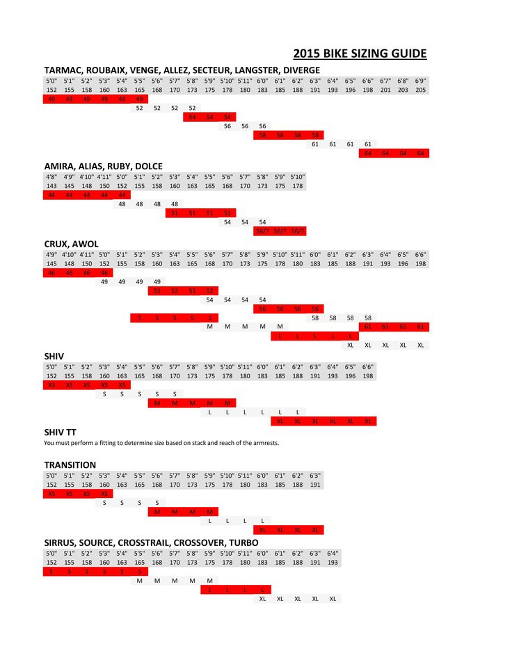 2015 Specialized Bike Sizing Guide on Our Bikes Concept