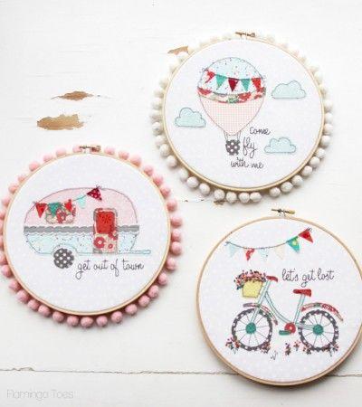 Embroidery Hoop Art- FlamingoToes