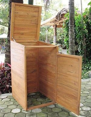 Tuin Hardwood Single Wheelie Bin Store