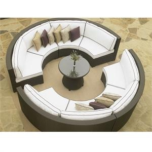 Circle Sectional Sofa Set with Round Chat Table. Great for use around a fire pit.