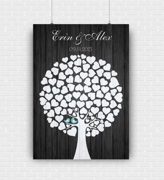 Custom wedding guest book poster for wall by GraphicCorner on Etsy