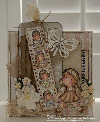 Using the Mini Tilda's - how cute!: Happy Birthday, Cards Ideas, Magnolias Cards, Little Girls Birthday, Cute Ideas, Lokhorst Designs, Birthday Tilda, Girls Birthday Cards, Magnolias Tilda