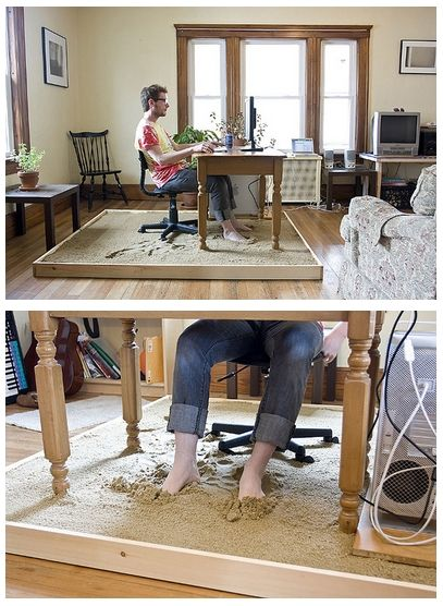 Beach sand under your work desk - Check out more amazing ideas that will make your house awesome! #HomeIdeas