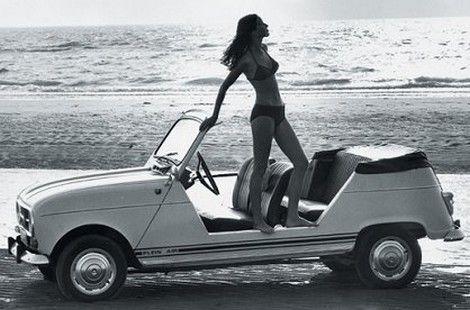 Renault 4 Plein Air girl at the beach