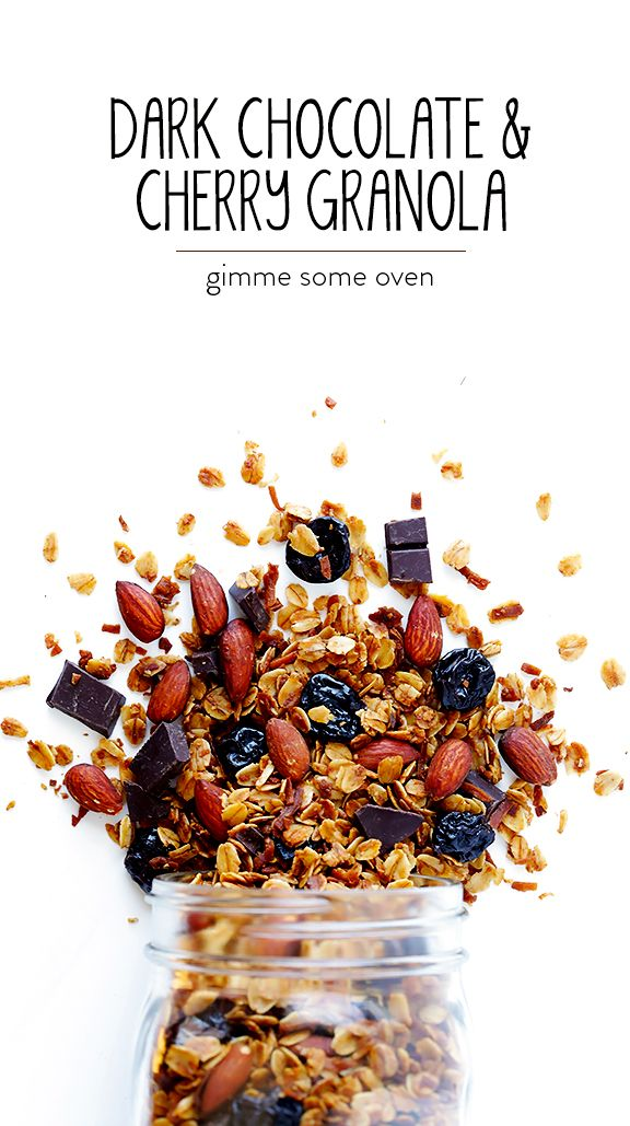 Dark Chocolate Cherry Granola -- easy to make, full of protein, and such a treat! | gimmesomeoven.com