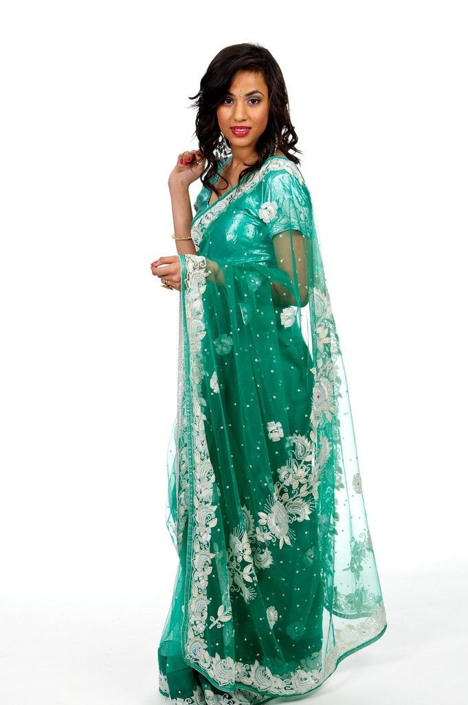 Green with White Flowers Net Sari