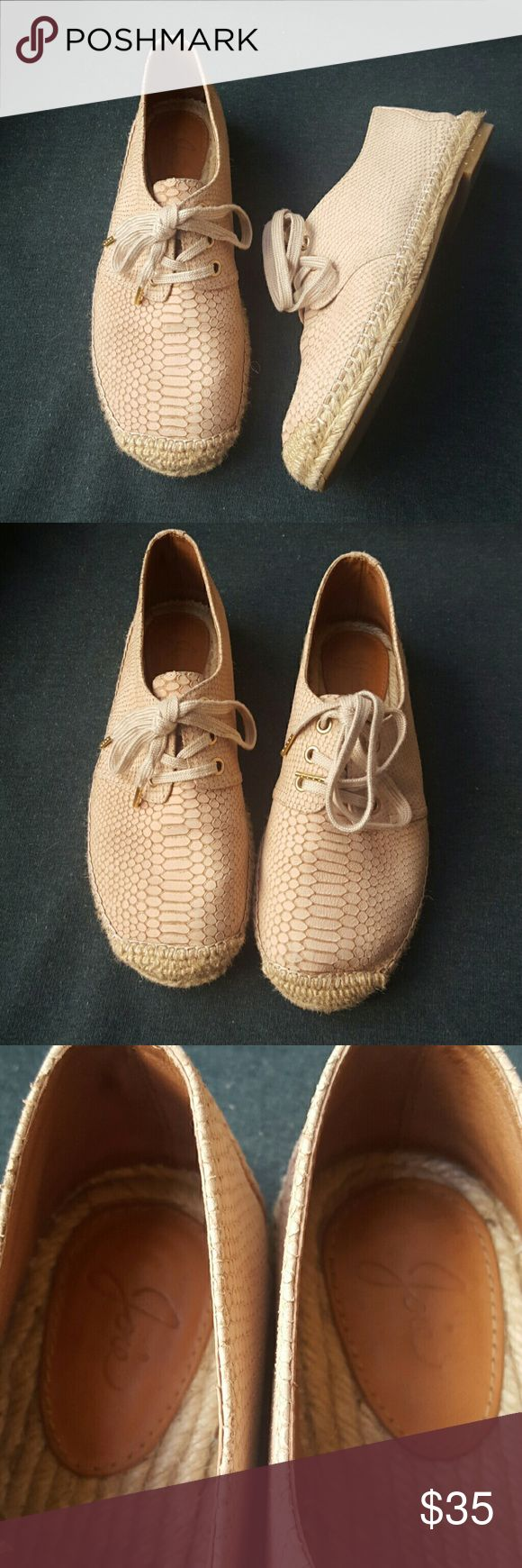 Joie shoes espadrilles beige leather 8 Joie espadrilles shoes. Beige snake skin pattern leather.  EUC.  Worn twice and only flaw is a bit of staining from driving on right back of hill see last pic. Rest in excellent condition. Joie Shoes Flats & Loafers