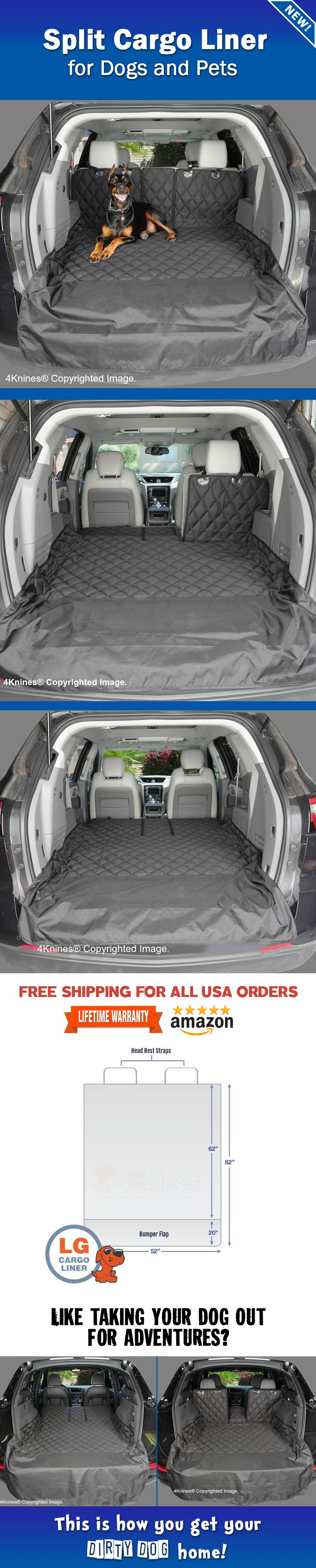 Like taking your dog out for adventures? This is how you get your dirty pup home. http://4knines.com/pages/4knines-split-cargo-liner Available at 4Knines.com or on Amazon. This patent pending design allows you to use a 60/40 or 50/50 rear split seat if you wish to put part of the seat up while your pup rides in the cargo area. 4Knines covers are built to last and come with a Lifetime Warranty.