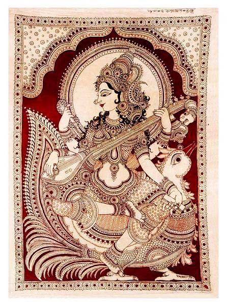 Image from http://www.indusladies.com/forums/attachments/paintings/170987d1350884822t-indian-painting-styles-kalamkari-paintings-saraswathi1-11-.jpg.