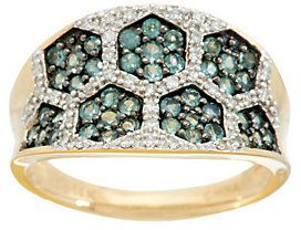 QVC As Is 0.70 ct tw Alexandrite & 1/7cttw Diamond Concave Ring, 14K Gold