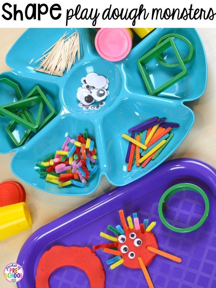 Shape play dough monsters! Plus 2D Shapes activities for preschool, pre-k, and kindergarten. Shape mats (legos, geoboards, etc), play dough mats, posters, sorting mats, worksheets, & MORE.