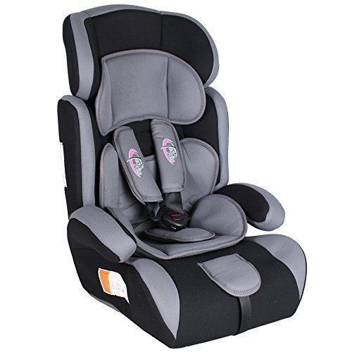 TecTake Silla de coche para niños – Grupos 1/2/3 pesos de 9-36 kg negro/gris