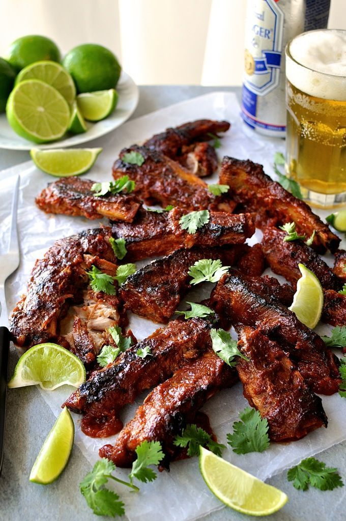 Pork Spare Ribs with Chipotle Barbecue Sauce - fall apart ribs made in the oven in one pan (including the sauce). Rich spicy, tangy, sweet sauce.
