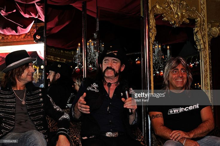 (L-R) Phil Campbell, Lemmy and Mikkey Dee of Motorhead promote their 35th anniversary tour at Stringfellows on November 4, 2010 in London, England. (Photo by Matt Kent/WireImage)