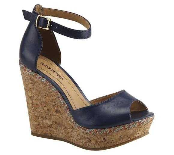 Sandália anabela estilo peep-toe com salto em cortiça | Sandálias | Bottero Calçados