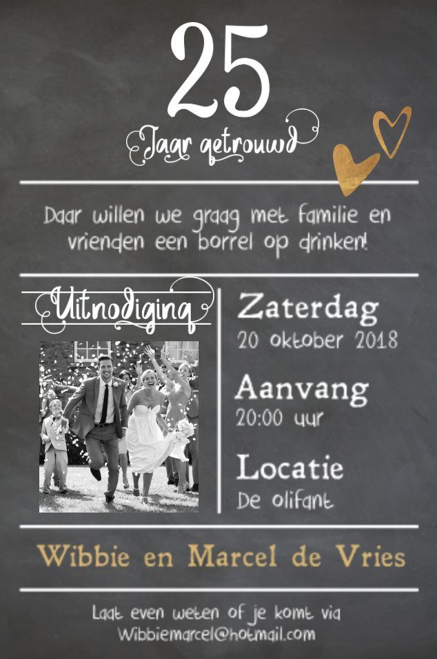 lovz | hippe foto uitnodiging 25 jaar getrouwd