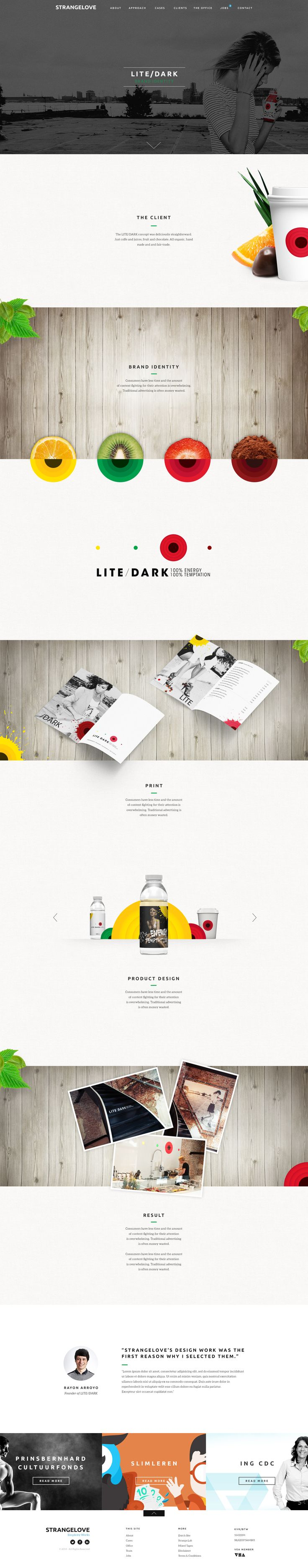 Textures and flat graphics.   Unique Web Design, Strange Love @hohous #WebDesign #Design (http://www.pinterest.com/aldenchong/)