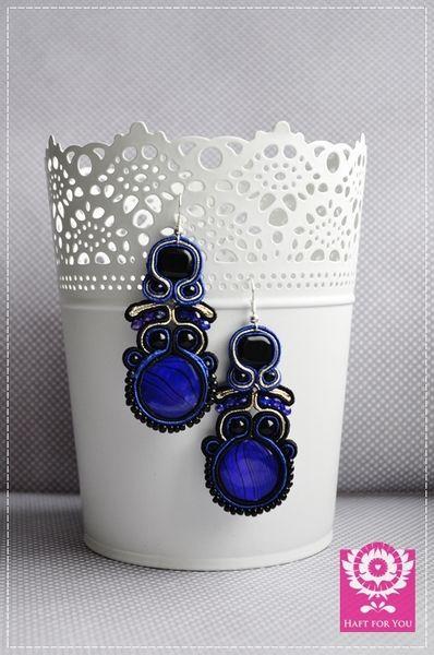 Kobaltowe- kolczyki sutasz w Haft for You na DaWanda.com