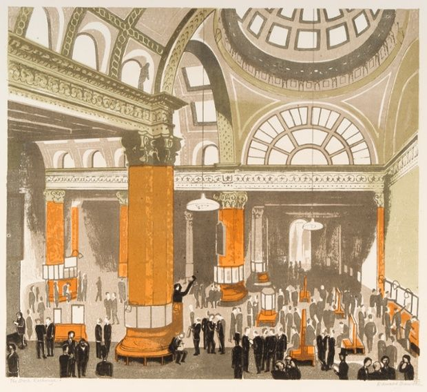 Edward Bawden - The Stock Exchange, 1963, colour autolithograph. (More images via link.)