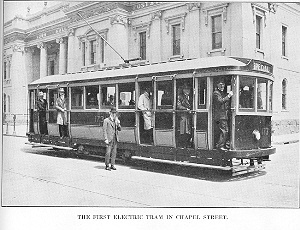 The first electric tram in Chapel Street, ca. 1927.