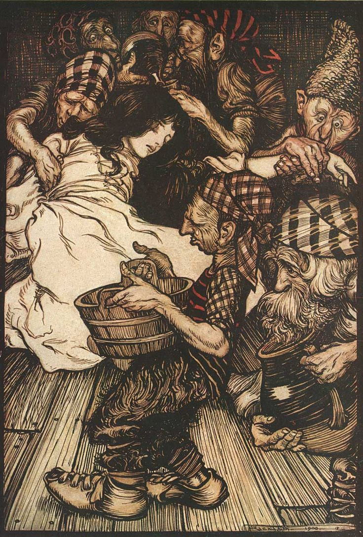 The Brothers Grimm Fairytales. Arthur Rackham illustration. Snow White and the Seven Dwarfs #illustration