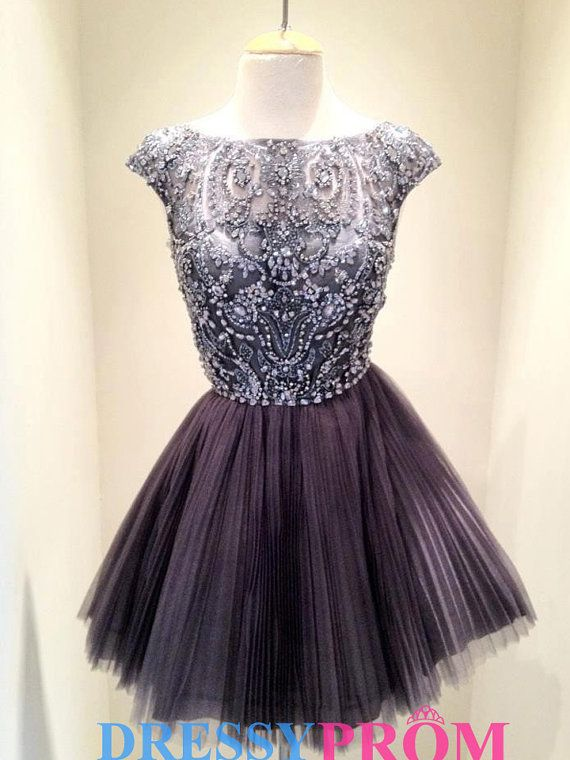 Fashion pageant Black Beading Short Homecoming Dress-New Arrival Princess Short Tulle Cocktail dresses,Party dresses,Short prom dresses 8338