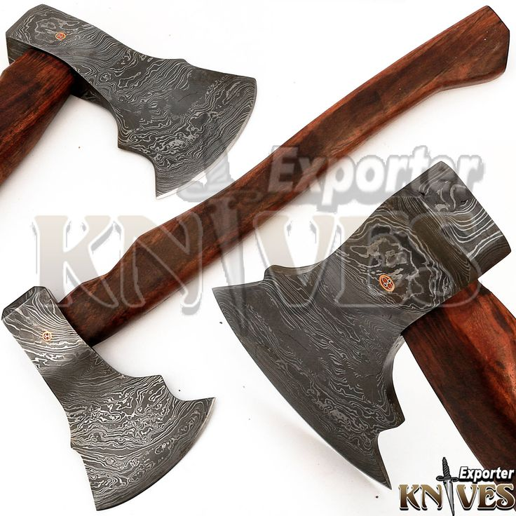 """Custom Hand Forged Damascus Steel Bearded Forest Felling Axe, 17"""" Wooden Handle by Knives Exporter 209 by TopQualityKnives on Etsy"""