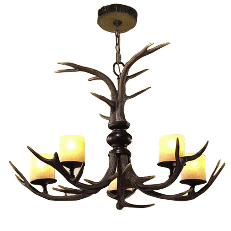 LNC Vintage Style Resin Deer Horn Antler Chandelier,5 Lights(Bulbs Not Included)