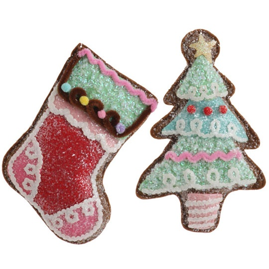 RAZ Gingerbread Tree And Stocking Christmas Ornament Set Of 2 2 Asst  Multicolored Made Of Polyester Measures X X Not Intended For Children From  The