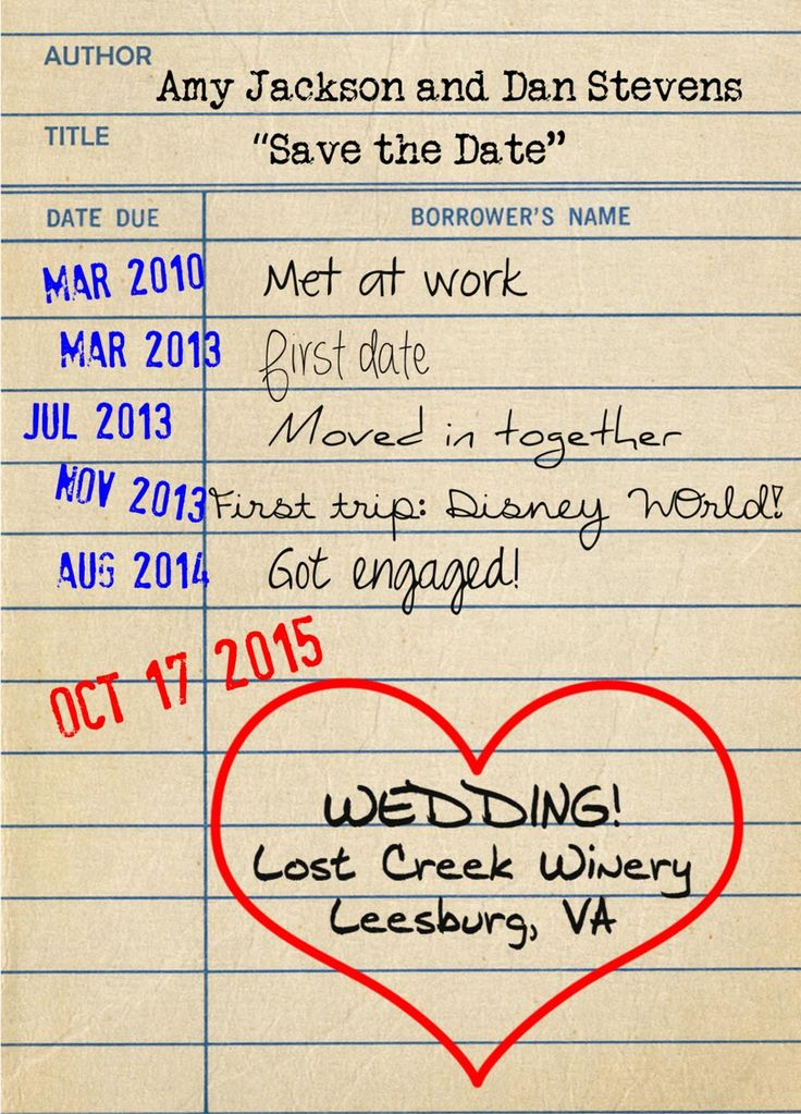 Library card style save the date