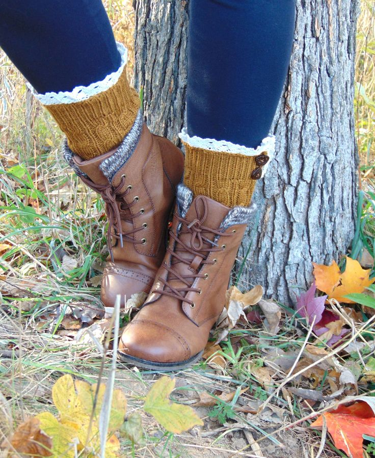 Maple Gold Lace Boot Cuffs, Boot Cuffs with Buttons, Knit Boot Toppers, Knit Boot Cuffs, Boot Cuffs Ankle Boot Cuffs Mustard Boot Socks by JannysGirl on Etsy https://www.etsy.com/listing/248398007/maple-gold-lace-boot-cuffs-boot-cuffs
