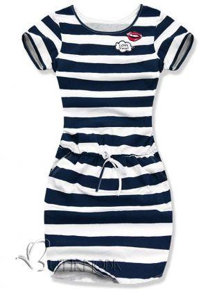 Kleid granat/weiß Streifen 7323