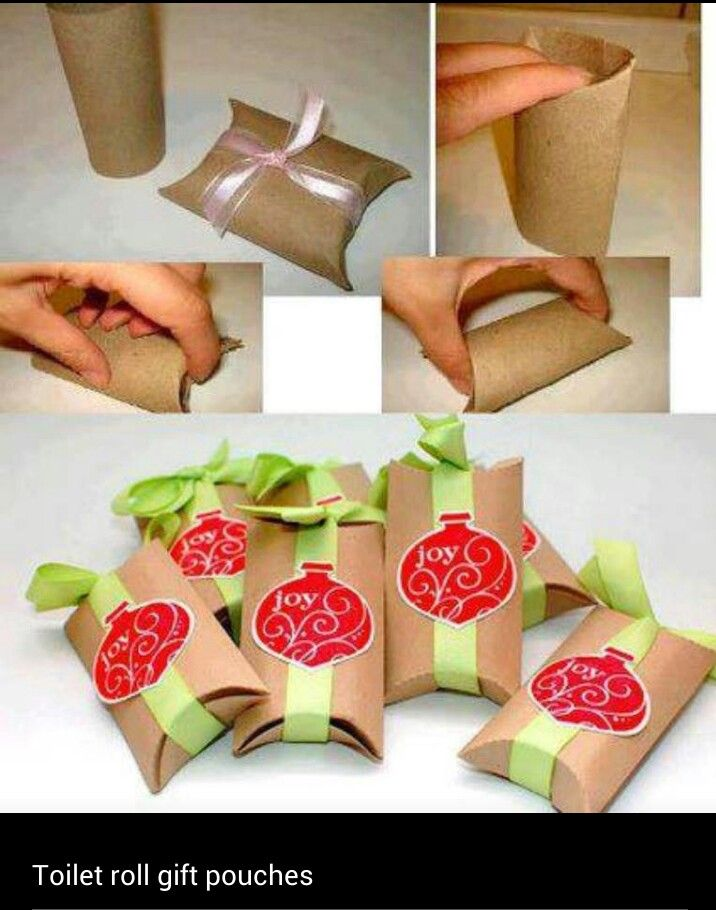 Cute idea. Toilet paper roll gift pouches. Tuck in a wax-wrapped lotion bar or lip balm!