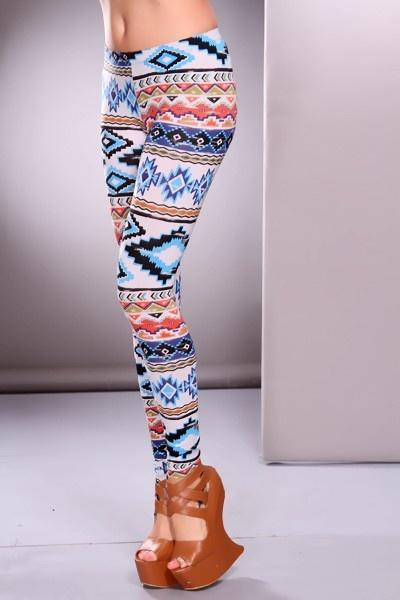 Blue Multi Ethnic Print Leggings Pants @ Amiclubwear Pants Online Store: sexy pants,sexy club wear,women's leather pants, hot pants,tight pants,sweat pants,white pants,black pants,baggy pants,smarty pants,plastic pants,women's jeans,plaid pants,gaucho pan