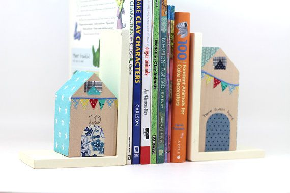 Personalized house bookends personalized number by PrettymShop