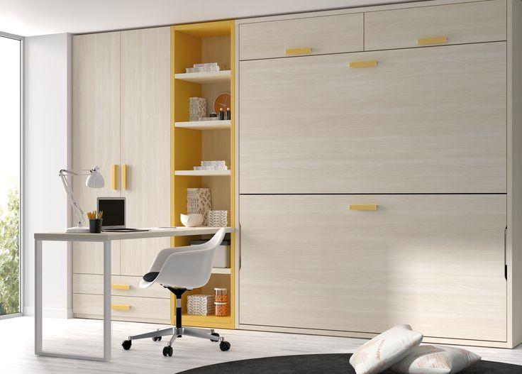 Otra buena solucion para espacios reducidos, dos camas, armario y zona de estudio.