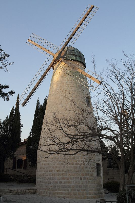 The Montefiore Windmill in Jerusalem. The Montefiore Windmill is a landmark in Jerusalem. Built in the Mishkenot Sha'ananim neighborhood in 1857, which was then in Ottoman-ruled Palestine, it was designed as a flour mill. The windmill serves as a small museum honored and dedicated to the achievements of British Jewish banker and philanthropist Moses Montefiore. (V)