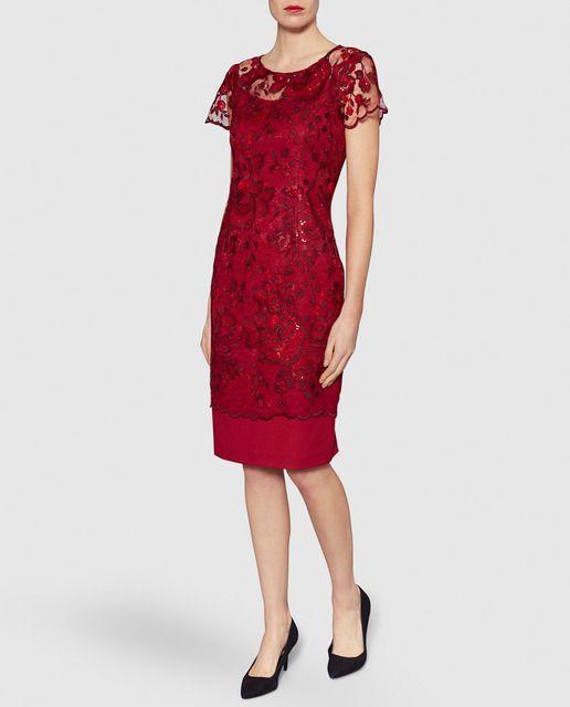 Vestido de encaje rojo de mujer Gina Bacconi