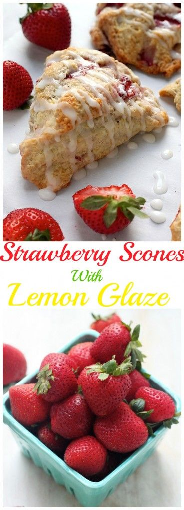 Fresh Strawberry Scones with Lemon Glaze - Baker by Nature