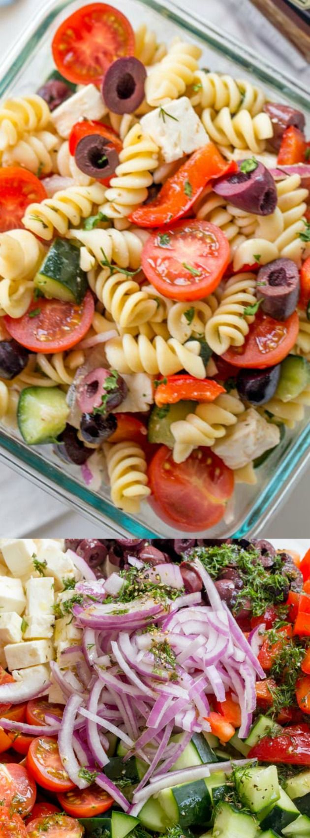 This Easy Greek Pasta Salad from Dinner, Then Dessert is the perfect easy lunch for home or work! It is loaded with pasta, feta, olives, and a tasty homemade vinaigrette!