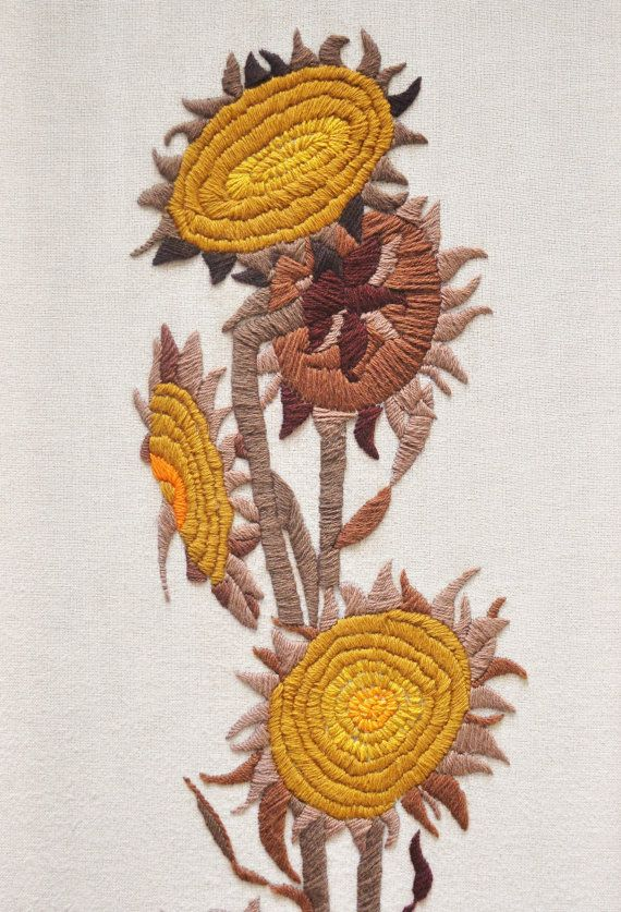Large Sunflower Crewel Embroidery Framed Wall by thewhitepepper