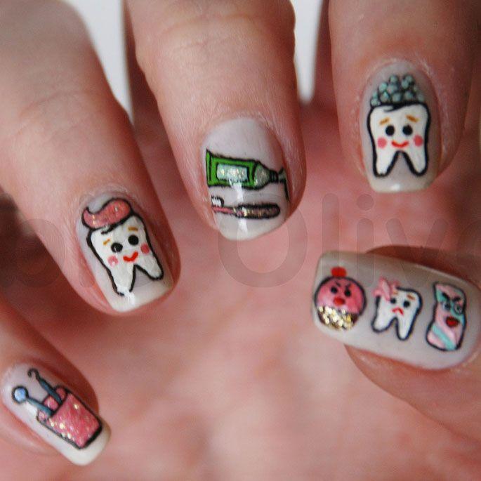 Dental Nail art!  Such a cute creative idea!!   www.martinandshengdental.com