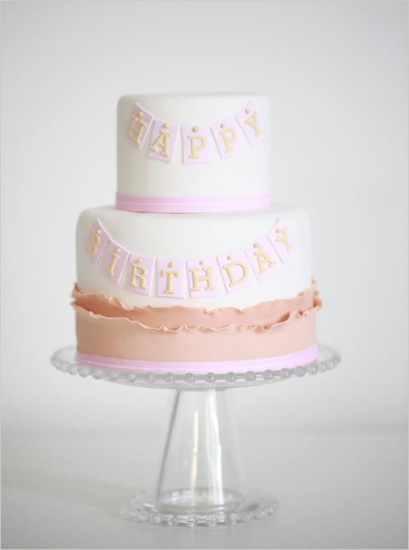 Pretty Two-Tiered Banner Birthday Cake