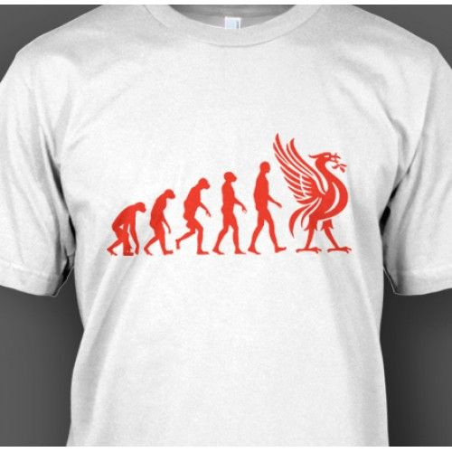 This design depicts the evolution from the early Neanderthal man into the proud Liverbird emblem adopted by Liverpool FC in 1901. Liverpool FC is steeped in history, with some of the most passionate fans in world football.  The kopites, belt out the Gerry & the Pacemakers classic 'You'll never walk alone,' at at anfield week in week out. Their Premier League status is always secure and over the years they have won eighteen titles, seven FA Cups along with a record eight League Cups