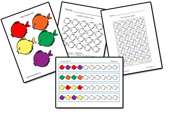 Goldfish crackers activities (sorting, graphing, patterns, etc.) F is for Fish week