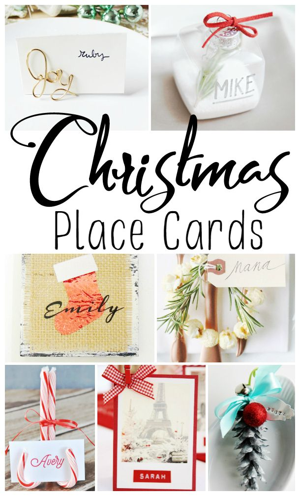 Here are 20 DIY and printable Holiday and  Christmas Table Place Card Ideas to inspire you as you create place settings for all of your guests.
