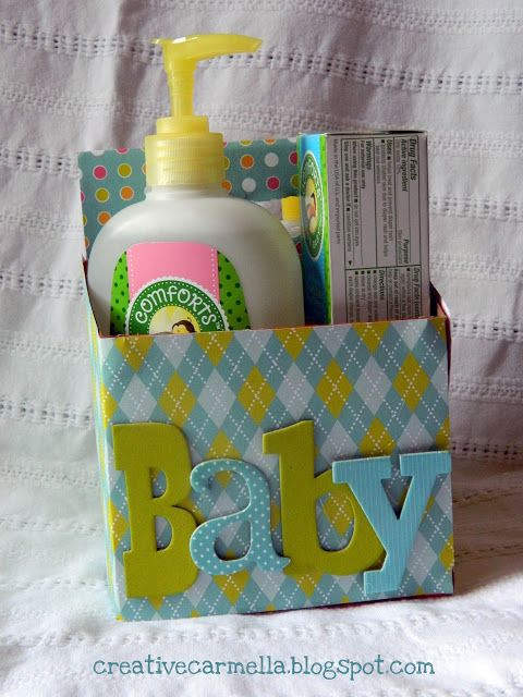 Super simple way to upcycle a six pack cardboard case.  This example is for a new mommy.  Think of all the possibilities:  Bonvoyage:  big family vacation, honeymoon, moving away; Christmas or Birthday basket; Get well soon/cheer up for hospital stay....it goes on and on!