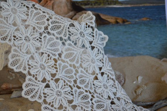 wide lace lace white heavy embroidered flower by TheQuiltedCheese