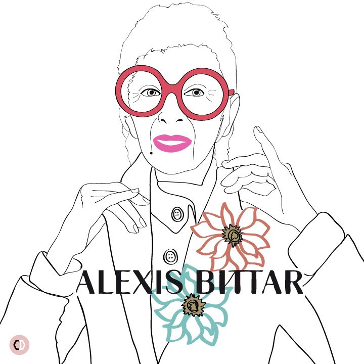 Iris Apfel for Alexis Bittar, shot by Terry Tsiolis - illustrated by Chiara Rigoni #fashionillustration #illustration #chiararigoni #irisapfel #alexisbittar #campaign #granny