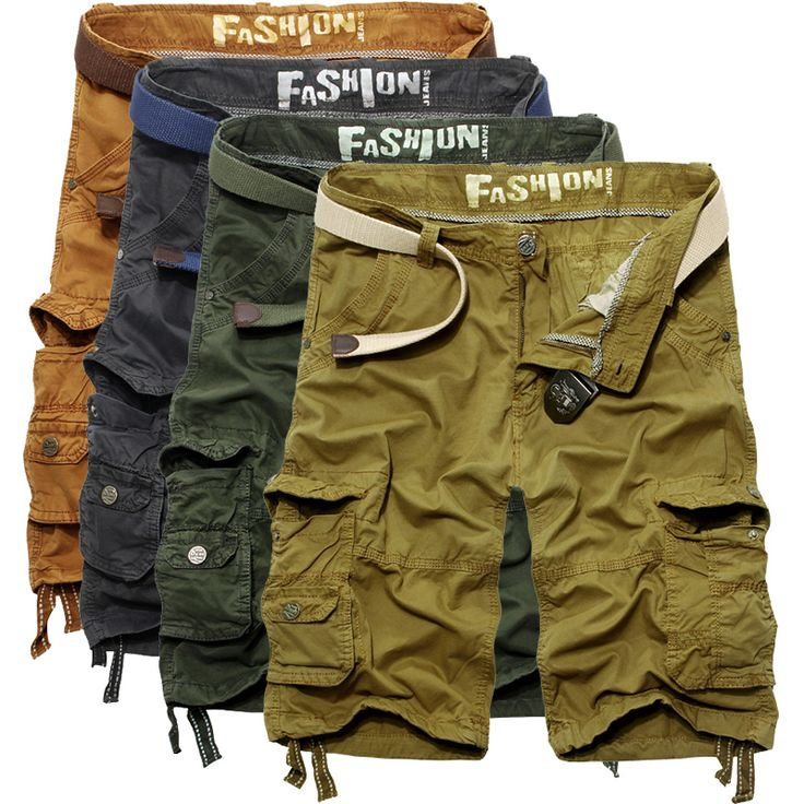 2016 New fashion trend short pants pocket casual style knickers Men cotton joggers outdoors high quality beach loose cargo Pants